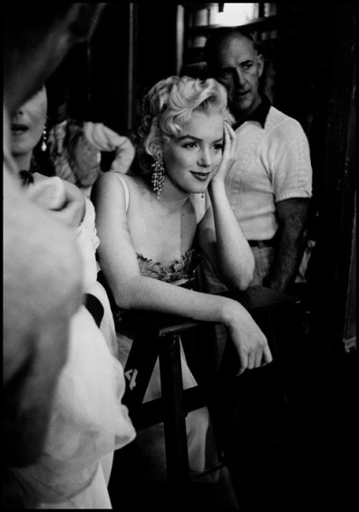 "Marilyn MONROE watching the film, ""Desiree"". 1953."